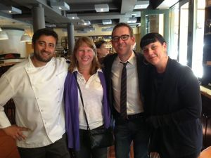 Producers Beth Federici and Kathleen Squires with %22Chopped%22 host Ted Allen and Chef Rafaele Ronca